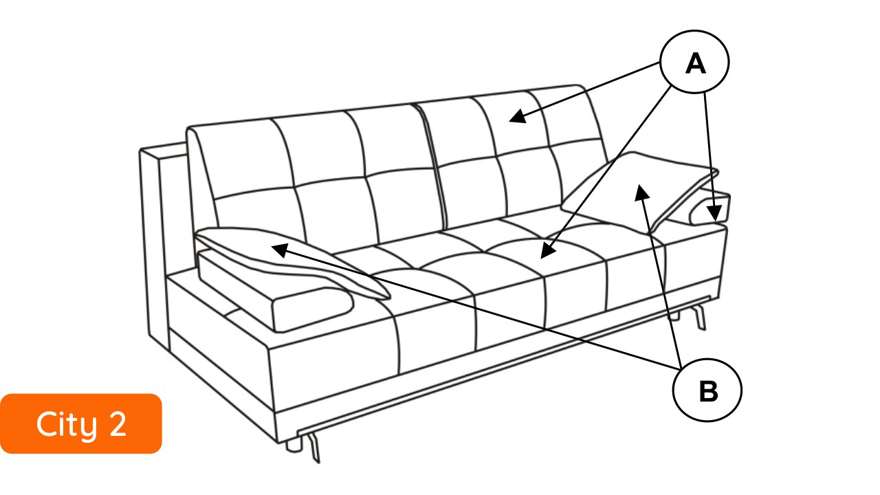 Libro Sofa City 3FBA - Modern tufted sofa