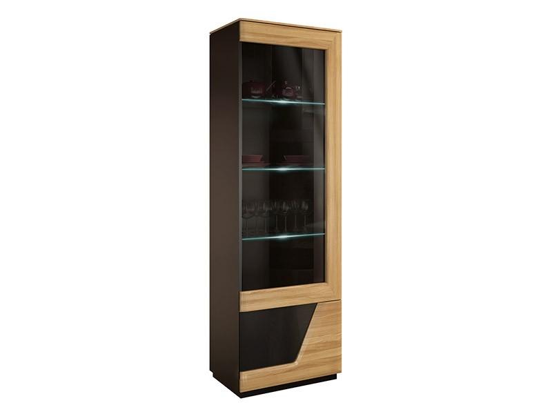 Mebin Smart Single Display Cabinet Right Natural Oak - Solid oak fronts