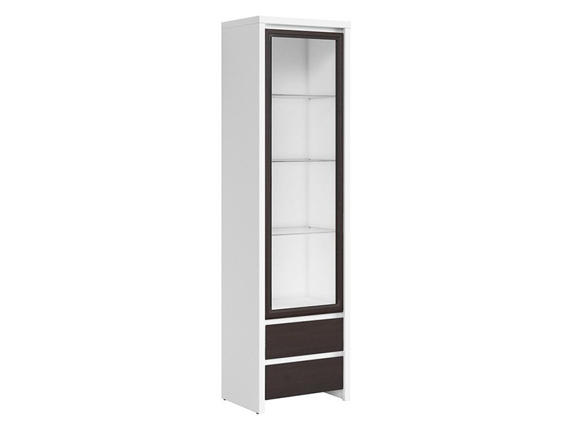 Kaspian White + Wenge Single Display Cabinet - Contemporary furniture collection