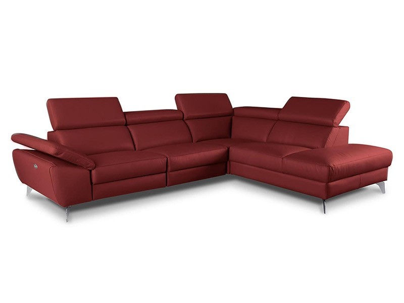 Des Sectional Panama - Dollaro Red - Sofa with power recliner