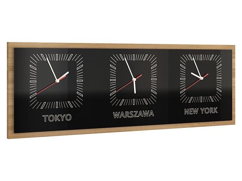 Mebin Smart Horizontal Clock Natural Oak - 3 time zones clock