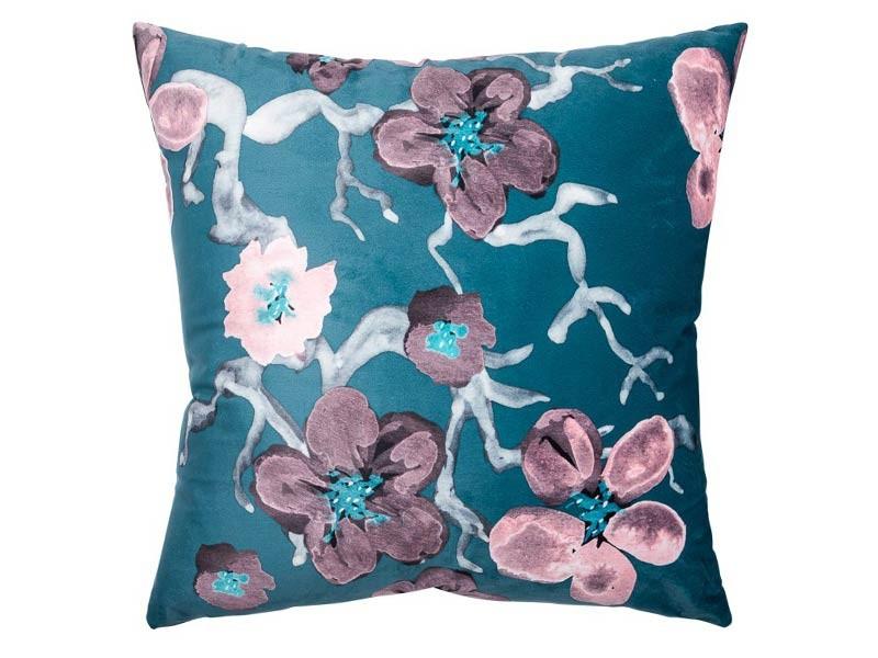 Torre & Tagus Sakura Blue Velvet - Accent Cushion