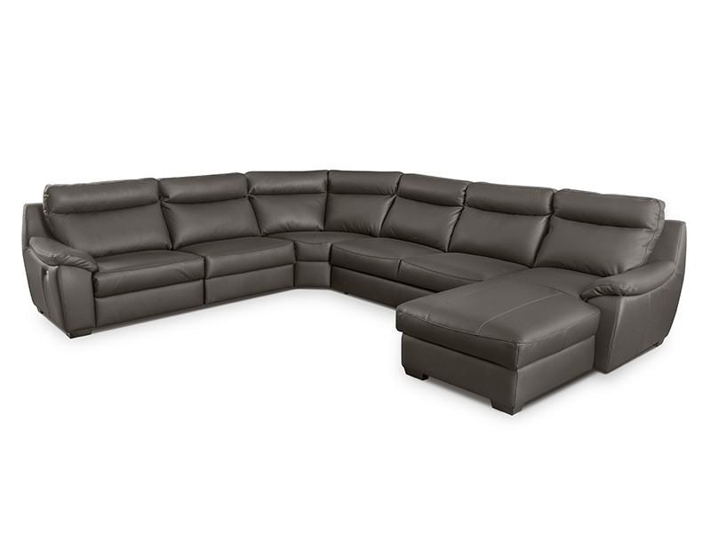 Des Sectional Boston - Dollaro Anthracite - Full-grain leather large U-shape sofa