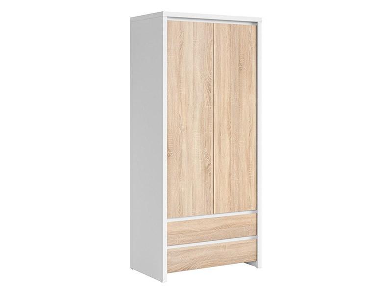Kaspian White + Oak Sonoma 2 Door Wardrobe - Contemporary furniture collection