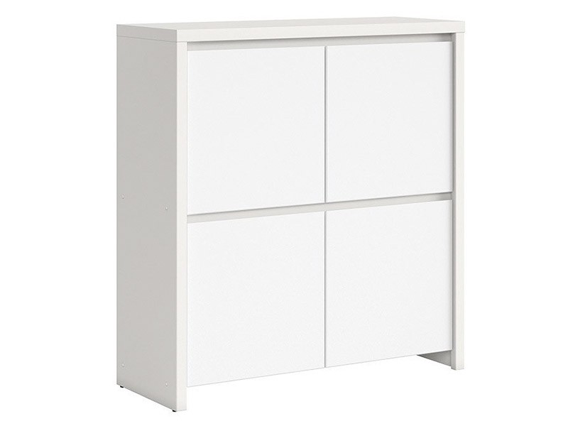 Kaspian White 4 Door Storage Cabinet - Contemporary furniture collection