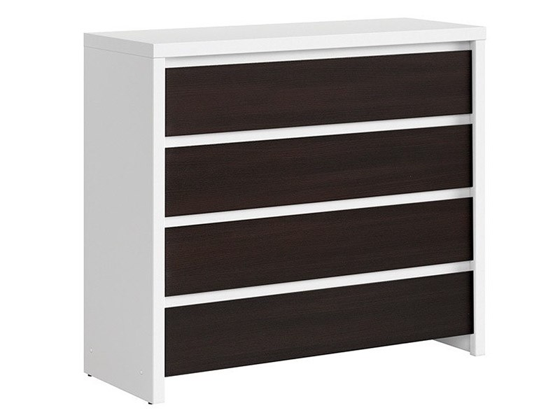 Kaspian White + Wenge 4 Drawer Dresser - Contemporary furniture collection