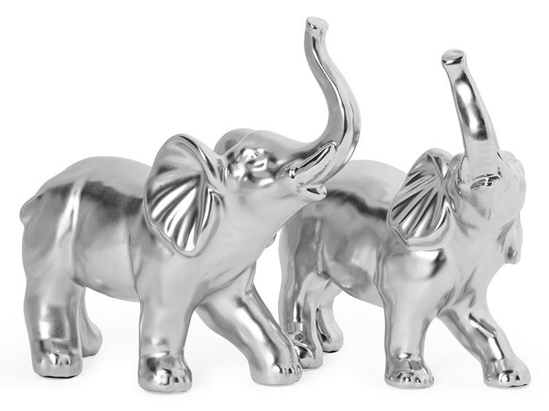 Torre & Tagus Proud Elephants Silver Ceramic - 2 Piece Decor Sculpture Set