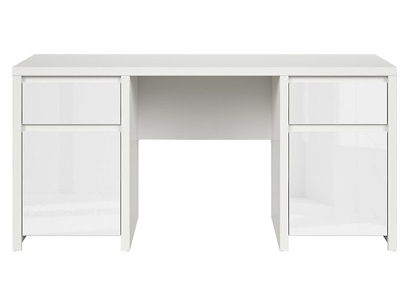Kaspian White Matte + Glossy Desk 160 - Large office desk