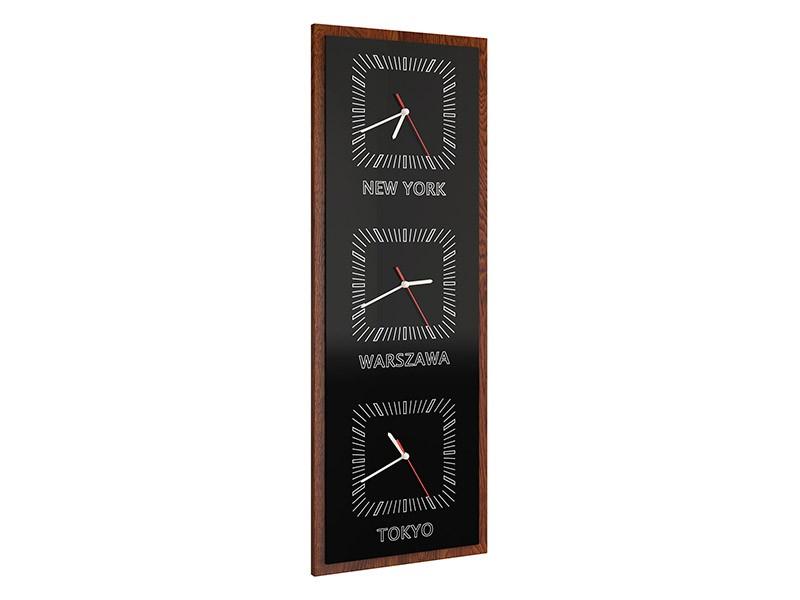 Mebin Smart Vertical Clock Antique Walnut - 3 time zones clock