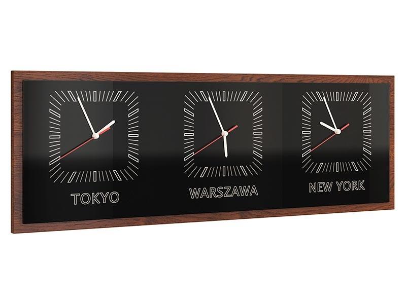 Mebin Smart Horizontal Clock Antique Walnut - 3 time zones clock