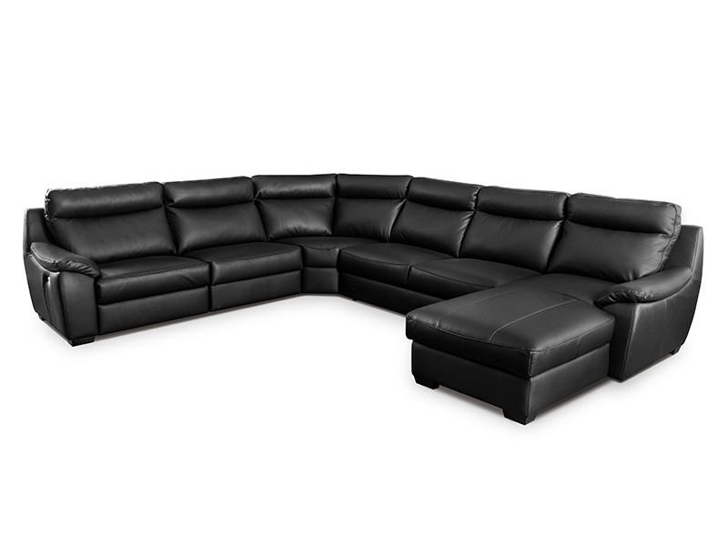 Des Sectional Boston - Dollaro Nero - Full-grain leather large U-shape sofa