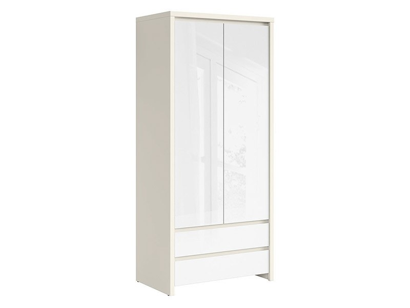 Kaspian White Matte + Glossy 2 Door Wardrobe - Contemporary furniture collection