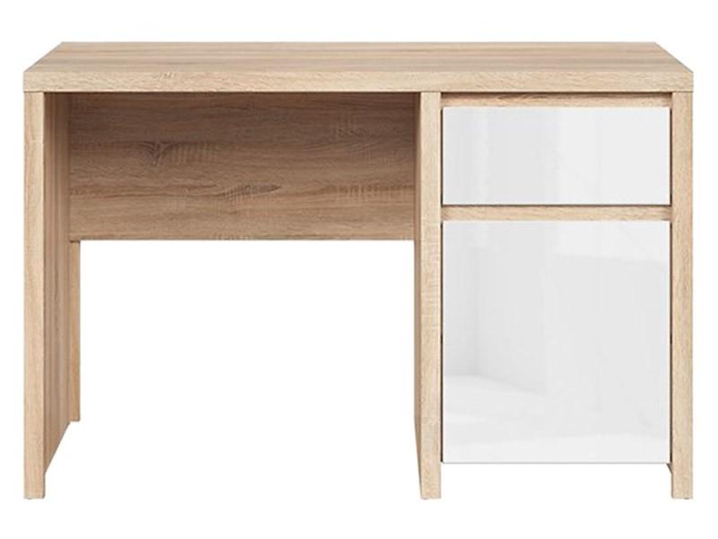 Kaspian Oak Sonoma + Glossy White Desk 120 - Sturdy desk