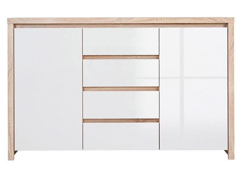 Kaspian Oak Sonoma + Glossy White Dresser - Versatile storage solution