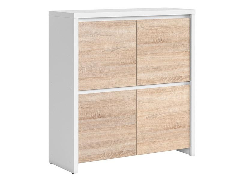Kaspian White + Oak Sonoma 4 Door Storage Cabinet - Contemporary furniture collection