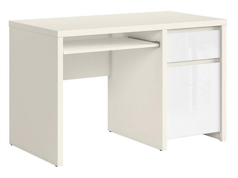 Kaspian White Matte + Glossy Desk 120 - Sturdy desk