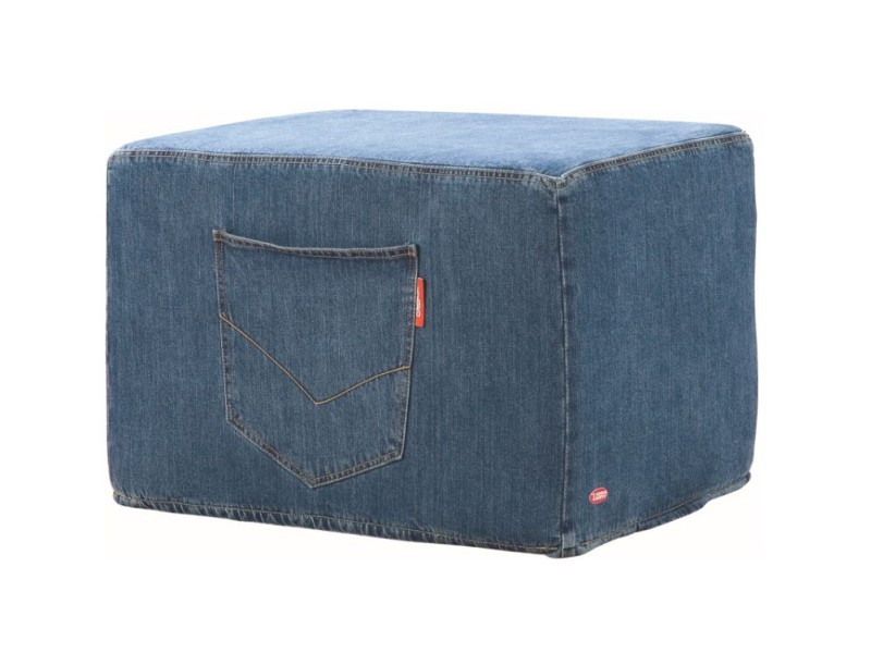 Libro ottoman Denim - Soft and large ottoman with a pocket on the side