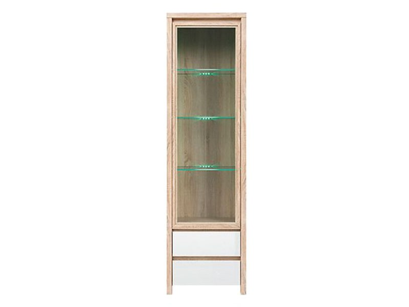 Kaspian Oak Sonoma + Glossy White Single Display Cabinet - Contemporary furniture collection