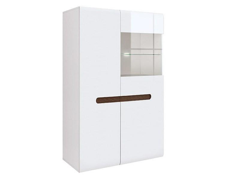 Azteca Trio 2 Door Display Cabinet - High gloss white cabinet