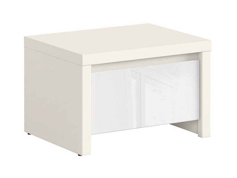 Kaspian White Matte + Glossy Nightstand - Contemporary furniture collection