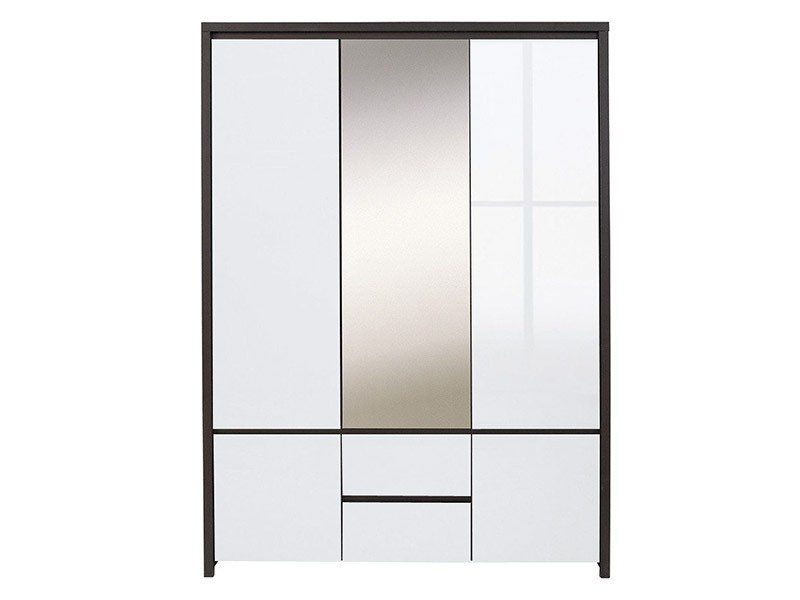 Kaspian Wenge + Glossy White 5 Door Wardrobe - Contemporary furniture collection