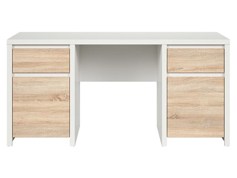 Kaspian White + Oak Sonoma Desk 160 - Large office desk