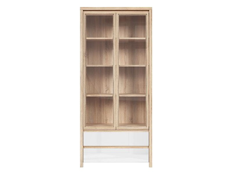 Kaspian Oak Sonoma + Glossy White Double Display Cabinet - Contemporary furniture collection