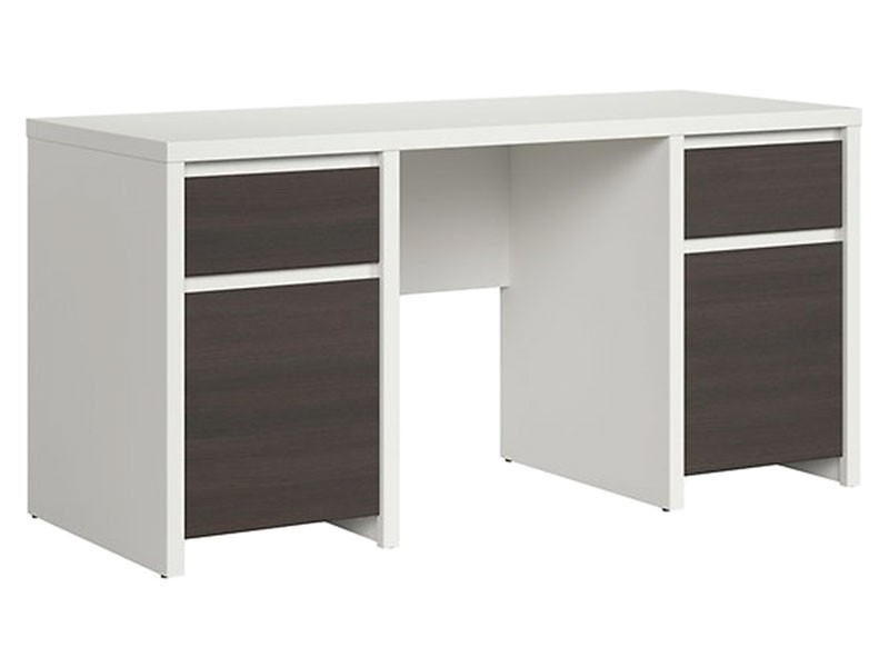 Kaspian White + Wenge Desk 160 - Large office desk