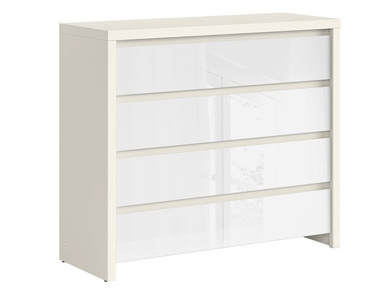 Kaspian White Matte + Glossy 4 Drawer Dresser - Contemporary furniture collection