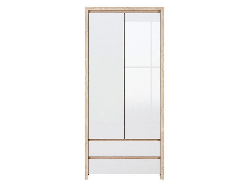 Kaspian Oak Sonoma + Glossy White 2 Door Wardrobe - Contemporary furniture collection