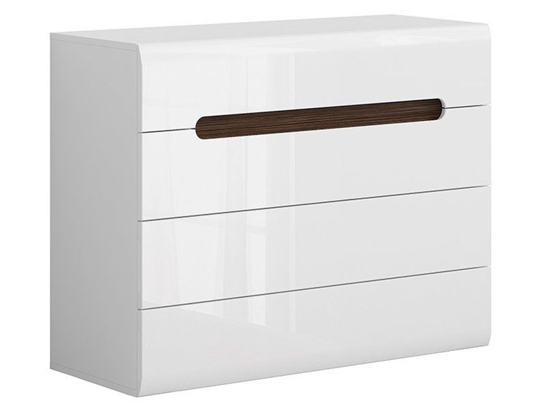 Azteca Trio 4 Drawer Dresser - High gloss white chest of drawers