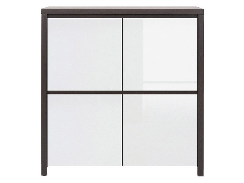 Kaspian Wenge + Glossy White 4 Door Storage Cabinet - Contemporary furniture collection
