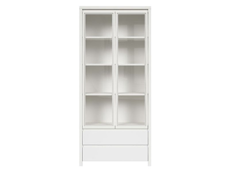 Kaspian White Double Display Cabinet - Contemporary furniture collection