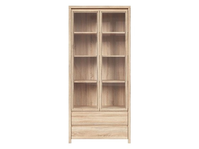 Kaspian Oak Sonoma Double Display Cabinet - Contemporary furniture collection