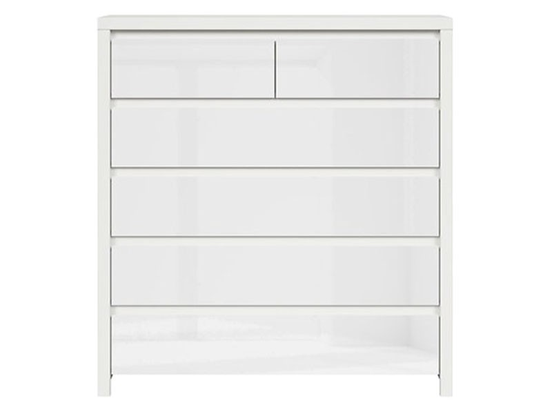 Kaspian White Matte + Glossy 6 Drawer Dresser - Contemporary furniture collection