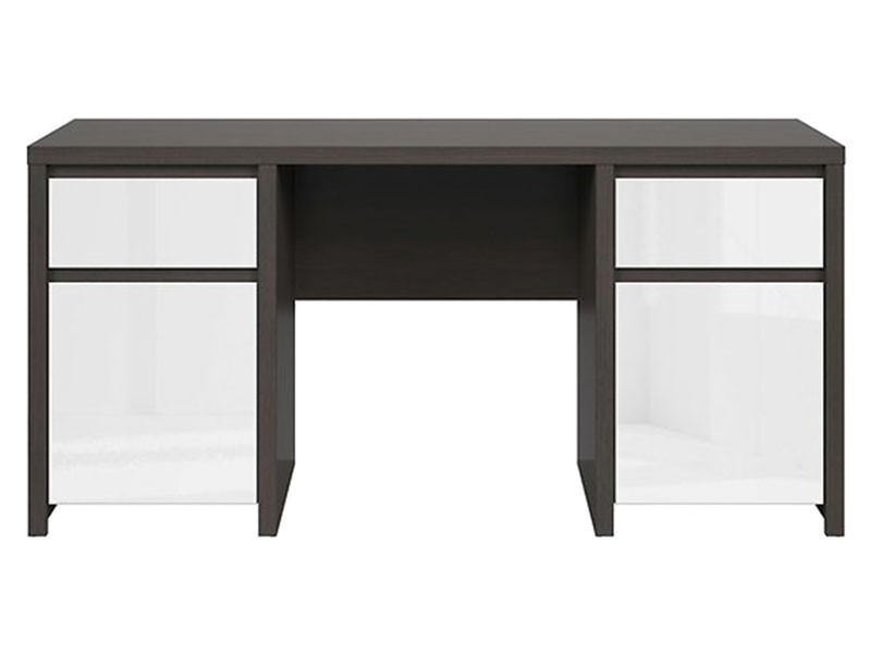 Kaspian Wenge + Glossy White Desk 160 - Large office desk