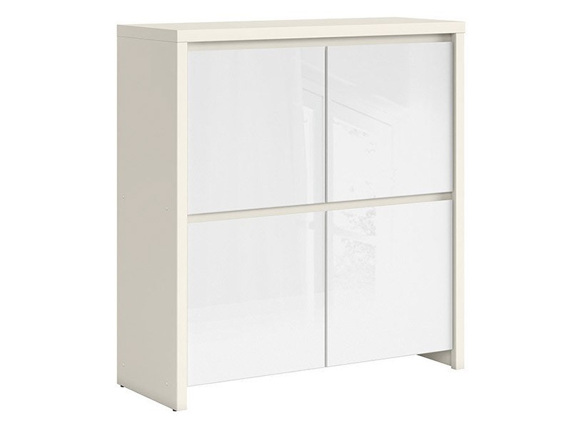 Kaspian White Matte + Glossy 4 Door Storage Cabinet - Contemporary furniture collection