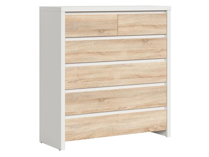 Kaspian White + Oak Sonoma 6 Drawer Dresser - Contemporary furniture collection