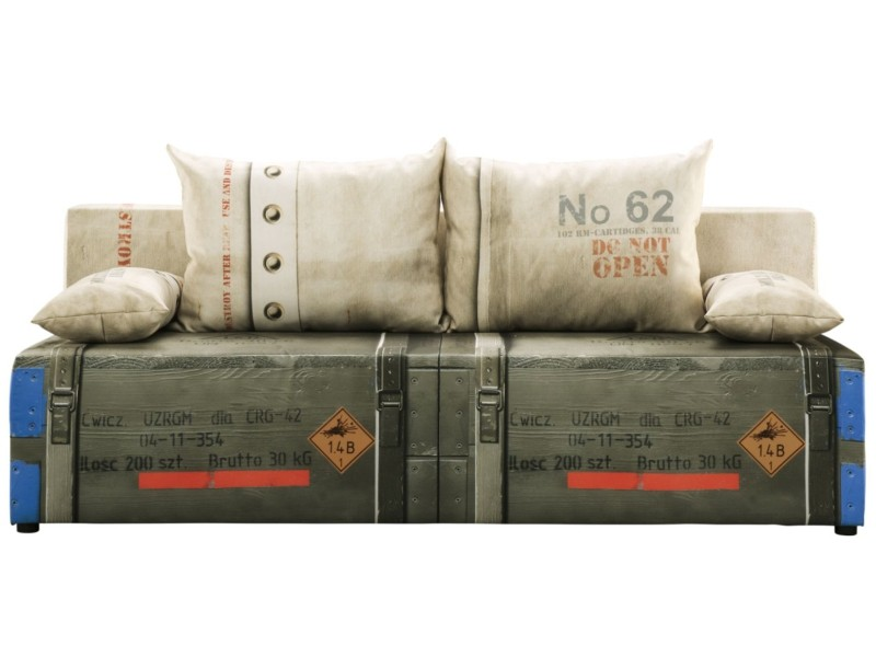 Libro Sofa Play Full Military 3FBA - Sofa with bed and storage
