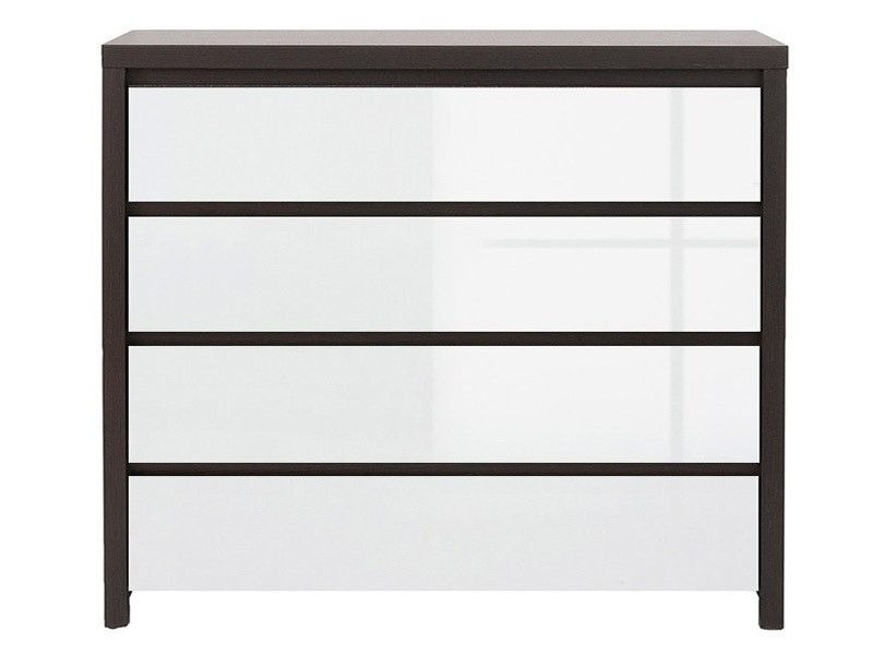 Kaspian Wenge + Glossy White 4 Drawer Dresser - Contemporary furniture collection