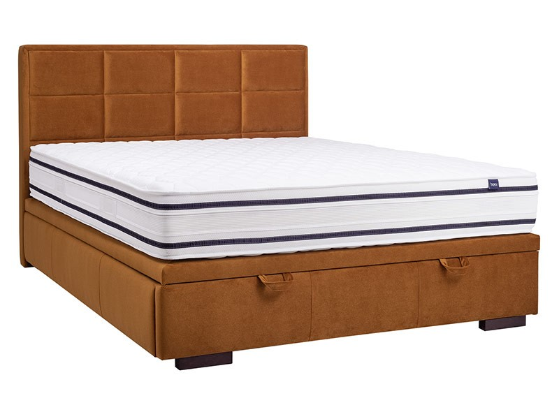 Masket Storage Bed Choco Slim - Modern upholstered storage bed