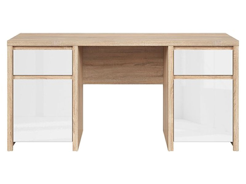 Kaspian Oak Sonoma + Glossy White Desk 160 - Large office desk