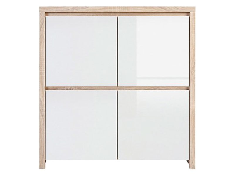 Kaspian Oak Sonoma + Glossy White 4 Door Storage Cabinet - Contemporary furniture collection