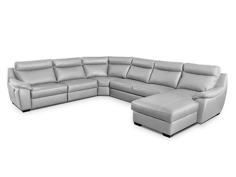 Des Sectional Boston - Dollaro Gris - Full-grain leather large U-shape sofa