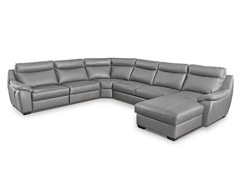 Des Sectional Boston - Dollaro Steel - Full-grain leather large U-shape sofa