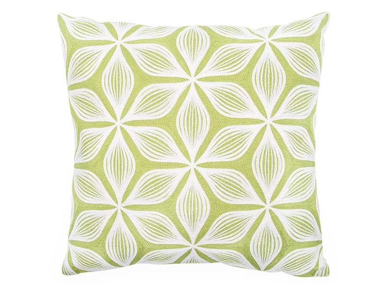 Torre & Tagus Geometric Floral Embroidered Filled Cushion - Accent Cushion