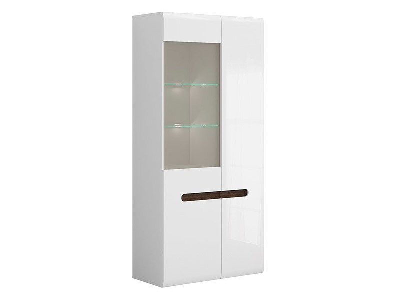 Azteca Trio Double Display Cabinet - High gloss white 2 door cabinet