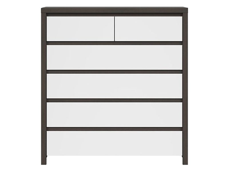 Kaspian Wenge + Glossy White 6 Drawer Dresser - Contemporary furniture collection