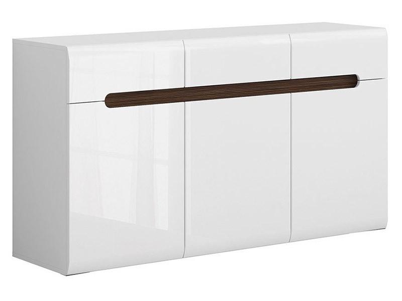 Azteca Trio 3 Door 3 Drawer Dresser - High gloss white storage cabinet