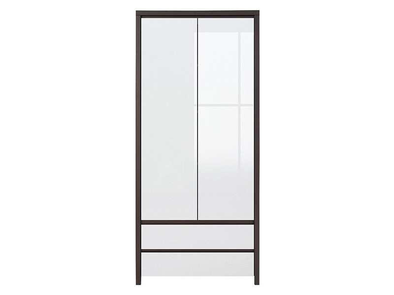 Kaspian Wenge + Glossy White 2 Door Wardrobe - Contemporary furniture collection